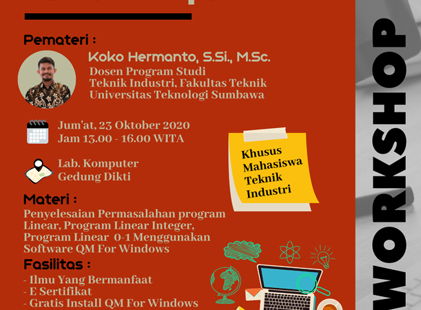WORKSHOP PELATIHAN SOFTWARE QM FOR WINDOWS  DALAM PERSOALAN OPTIMASI